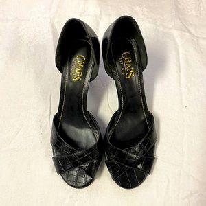 Chaps leather black high heeled peep toe